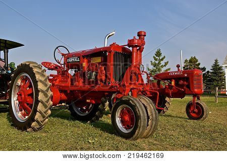 ROLLAG, MINNESOTA, Sept 1,  2017:  A restored F-20 Farmall  tractor is being displayed at the annual WCSTR farm show in Rollag held each Labor Day weekend where 1000's attend.