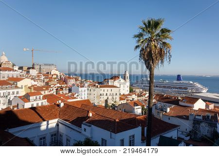 Lisbon Town Skyline At The Alfama