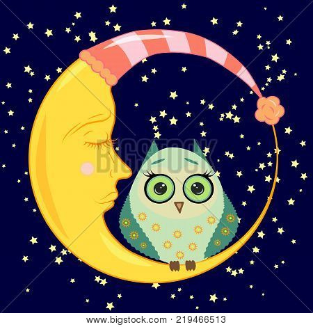 cute cartoon sleeping owl with closed eyes sits on a drowsy crescent moon among the stars