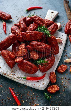 Spanish pork chorizo sausages made with paprika, garlic, chilli and rosemary.