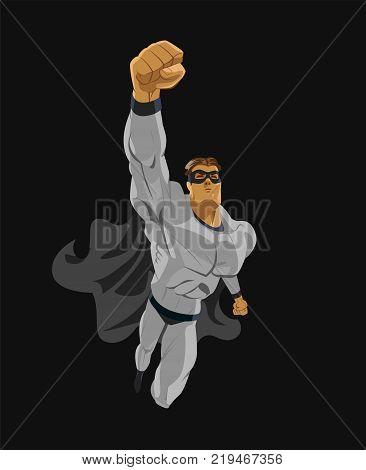 Superhero flying. Strives height. Isolated background. Vector illustration