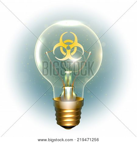 Realistic lamp with the symbol of biohazard instead of the filament of incandescence, isolated on a light background, vector illustration