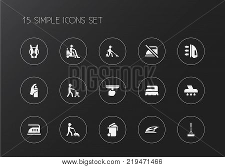Set of 15 editable hygiene icons. Includes symbols such as swob, sweeper, ironing and more. Can be used for web, mobile, UI and infographic design.
