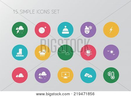 Set of 15 editable climate icons. Includes symbols such as sunshine, rainstorm, frosty weather and more. Can be used for web, mobile, UI and infographic design.