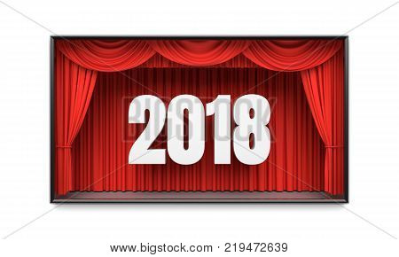 Happy New Year greeting card. Red stage curtains revealing year 2018 number. Graphic design element for premiere announcement, party invitation poster, flyer, advertisement concept. 3D illustration