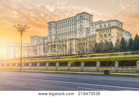 The Palace of the Parliament at sunset time, Bucharest, Romania.