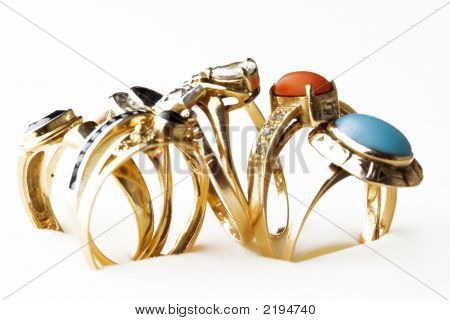 Golden Rings With Precious Stones