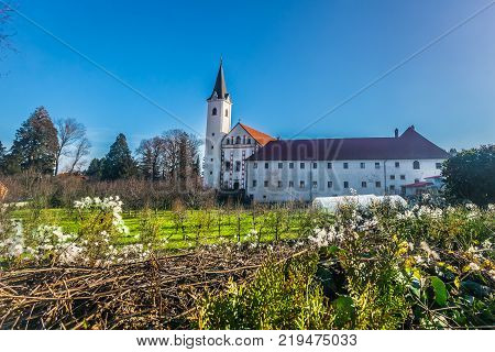 Scenic view at picturesque baroque monastery in Samobor place, suburb of town Zagreb.