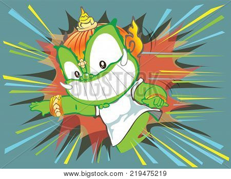 Thai giant attact to leaping forward or flying action and smiling face cartoon character design cute isolate illustration has clipping paths.