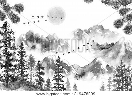 Watercolor painting. Hand drawn illustration. Monochrome serenity nature scene with mountains in mist moon flying birds fir trees dried grass and pine branches. Oriental ink landscape.