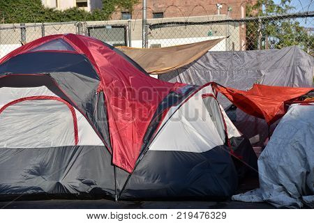 Tents of the homeless on the streets of Los Angeles