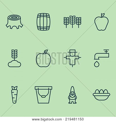 Gardening icons set with pail, ovum, cereal and other nectarine elements. Isolated vector illustration gardening icons.