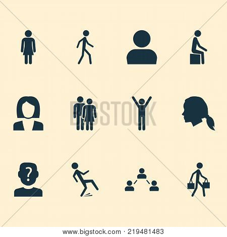 Human icons set with network, gentlewoman head, female and other unknown elements. Isolated vector illustration human icons.
