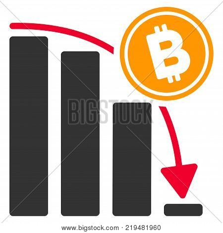 Bitcoin Epic Fail Chart flat vector pictograph. An isolated illustration on a white background.