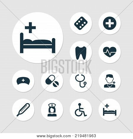 Drug icons set with beating, remedy, mercury and other beating elements. Isolated vector illustration drug icons.