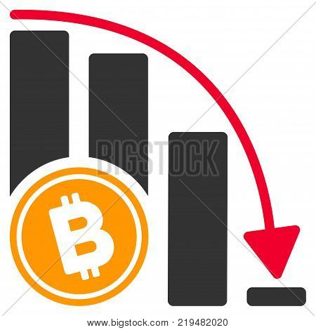 Bitcoin Falling Acceleration Chart flat vector illustration. An isolated illustration on a white background.