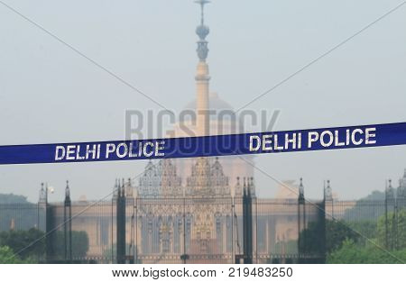 New Delhi India - October 29, 2017: President House And New Delhi Police Cordon Off India