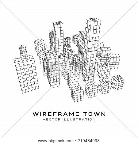 Mesh low poly wireframe cubes array like skyscraper city. Connected lines town. Connection Box Structure. Digital Data Visualization Concept. Vector Illustration.