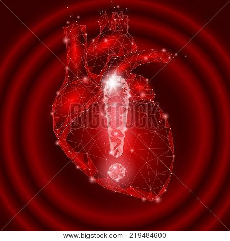 Attention health warning exclamation point heart low poly. Alert dangerous medicine disease risk infarct safety protect concept. Red triangle point line polygonal vector illustration art