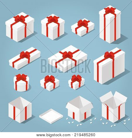 Isometric vector set of gift boxes, presents. Collection of gift boxes with a bows of different type - square boxes, round boxes, opened boxes, and boxes of some different colors.