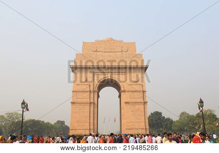 New Delhi India - October 29, 2017: Unidentified People Visit India Gate Historical Architecture In