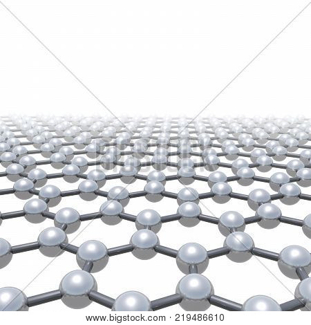 Graphene layer schematic molecular model hexagonal lattice made of carbon atoms isolated on white background 3d render illustration poster