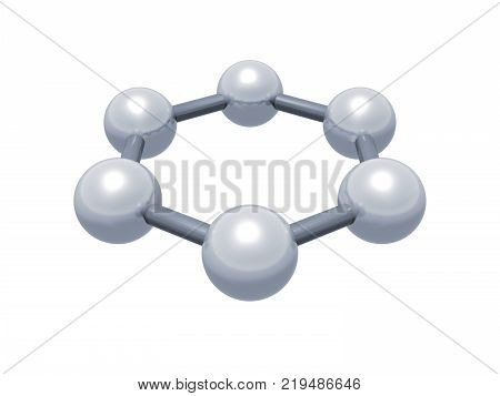 H6 graphene aromatic cluster schematic molecular model. Hexagonal structure made of carbon atoms isolated on white background 3d render poster