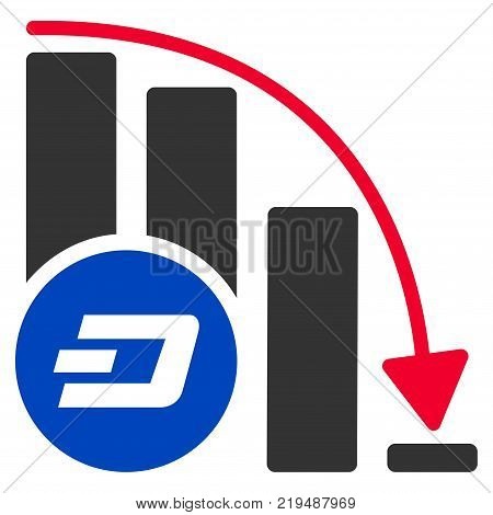 Dashcoin Falling Acceleration Chart flat vector icon. An isolated illustration on a white background.