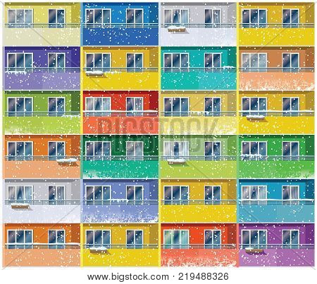 Stylized vector illustration of a colored apartments house in winter. Seamless in all directions if needed