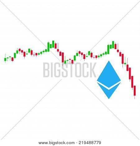 Ethereum Falling Chart flat vector pictograph. An isolated illustration on a white background.