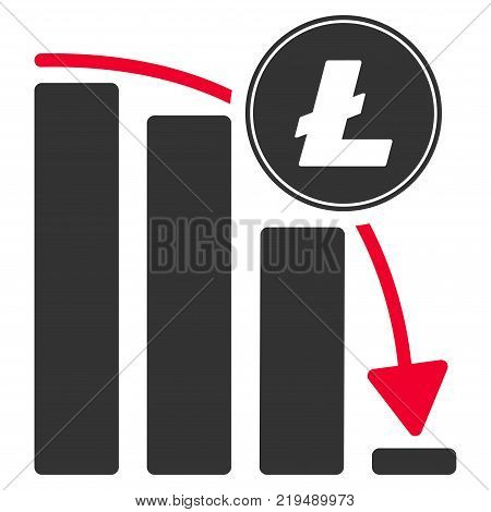 Litecoin Falling Acceleration Chart flat vector pictograph. An isolated illustration on a white background.
