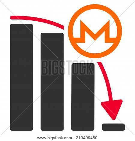 Monero Falling Acceleration Graph flat vector pictogram. An isolated illustration on a white background.