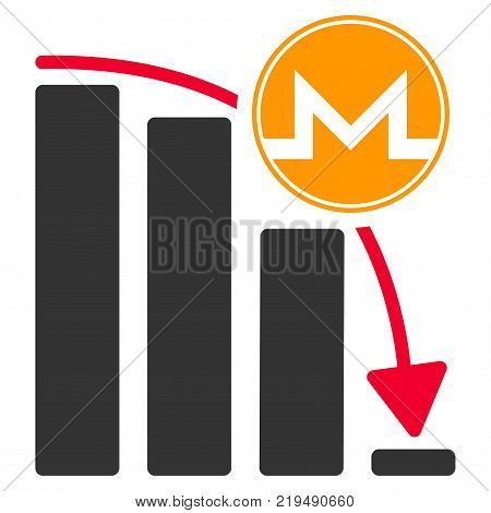 Monero Panic Fall Chart flat vector pictogram. An isolated illustration on a white background.