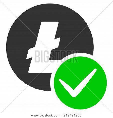 Valid Litecoin flat vector pictogram. An isolated illustration on a white background.