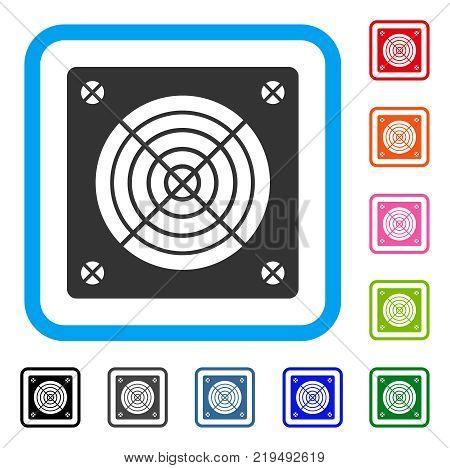 Asic Miner Hardware icon. Flat grey iconic symbol inside a blue rounded frame. Black, gray, green, blue, red, orange color variants of Asic Miner Hardware vector. Designed for web and software UI.