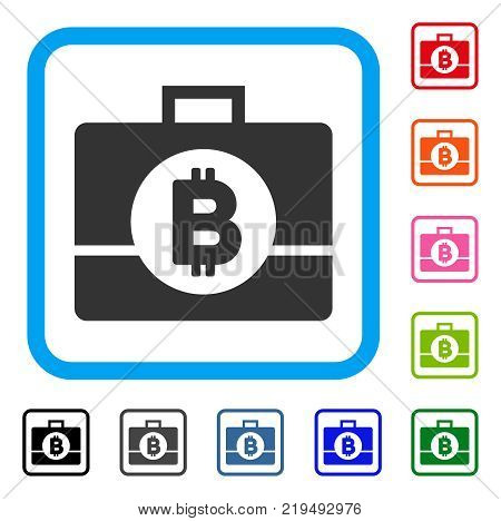 Bitcoin Business Case icon. Flat grey pictogram symbol inside a blue rounded rectangle. Black, gray, green, blue, red, orange color additional versions of Bitcoin Business Case vector.