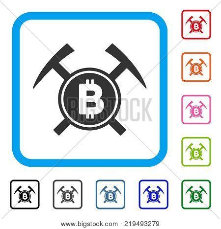 Bitcoin Mining Hammers icon. Flat gray iconic symbol in a blue rounded rectangular frame. Black, gray, green, blue, red, orange color variants of Bitcoin Mining Hammers vector.