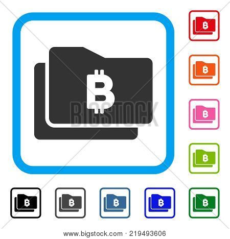 Bitcoin Purse icon. Flat grey pictogram symbol inside a blue rounded rectangular frame. Black, gray, green, blue, red, orange color additional versions of Bitcoin Purse vector.