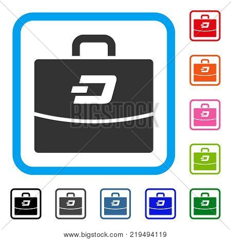 Dash Accounting Case icon. Flat grey iconic symbol in a blue rounded frame. Black, gray, green, blue, red, orange color additional versions of Dash Accounting Case vector.