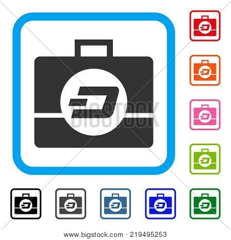 Dash Business Case icon. Flat grey iconic symbol inside a blue rounded squared frame. Black, gray, green, blue, red, orange color versions of Dash Business Case vector.