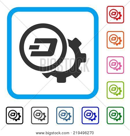 Dash Configuration Gear icon. Flat grey iconic symbol inside a blue rounded rectangular frame. Black, gray, green, blue, red, orange color additional versions of Dash Configuration Gear vector.