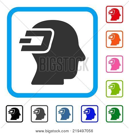 Dash Imagination icon. Flat grey pictogram symbol inside a blue rounded rectangle. Black, gray, green, blue, red, orange color additional versions of Dash Imagination vector.
