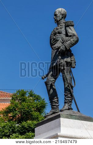 Statue of the 1st Duke of Terceira in Lisbon Portugal sculpted by Simoes de Almeida in 1877. He served as a Marshal of the Portuguese Army during the Portuguese Restoration War. poster