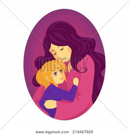 Mother hugs a child. The child is in the mother's arms. The woman with her daughter. The girl is happy she found mother. A fairy tale for the night.