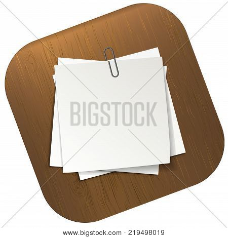 White sticky notes pinned on table. sheets of note papers. Template for your message. Vector illustration template.