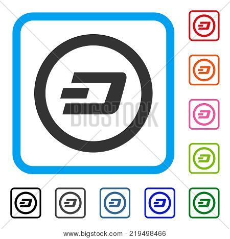 Dash Rounded icon. Flat gray pictogram symbol inside a blue rounded squared frame. Black, gray, green, blue, red, orange color versions of Dash Rounded vector.