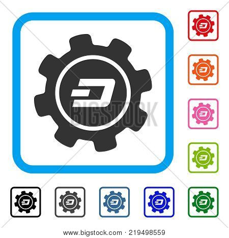 Dash Settings Gear icon. Flat grey pictogram symbol inside a blue rounded rectangular frame. Black, gray, green, blue, red, orange color variants of Dash Settings Gear vector.