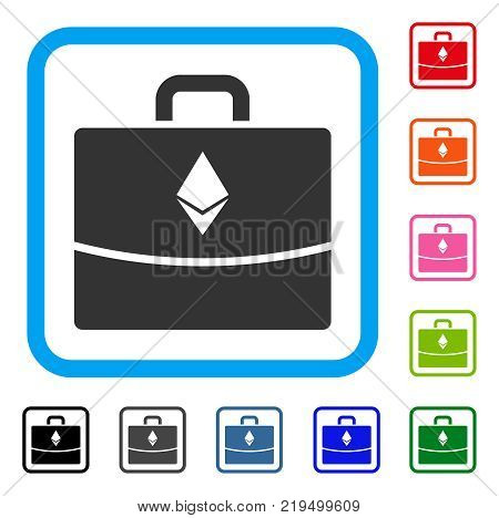 Ethereum Accounting Case icon. Flat gray pictogram symbol in a blue rounded square. Black, gray, green, blue, red, orange color variants of Ethereum Accounting Case vector.