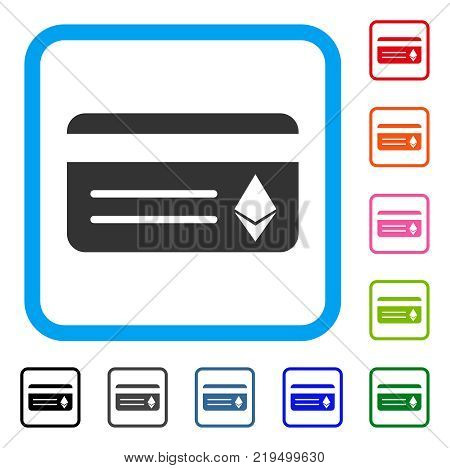 Ethereum Banking Card icon. Flat gray pictogram symbol inside a blue rounded squared frame. Black, gray, green, blue, red, orange color variants of Ethereum Banking Card vector.