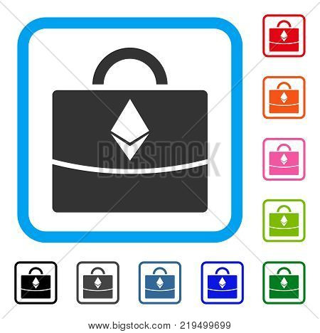 Ethereum Business Case icon. Flat grey iconic symbol inside a blue rounded frame. Black, gray, green, blue, red, orange color versions of Ethereum Business Case vector.